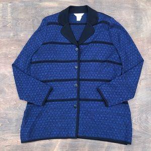 Misook Cardigan Sweater Blue Black L Button down